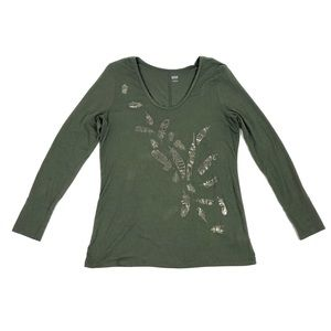 A. N. A. Women's Long Sleeve Olive Green